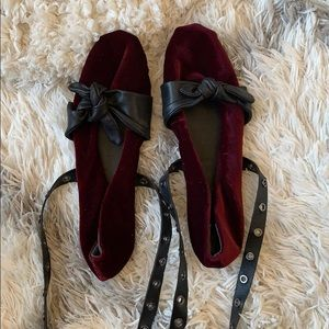 Women's red and black lace up ballerina flat shoes